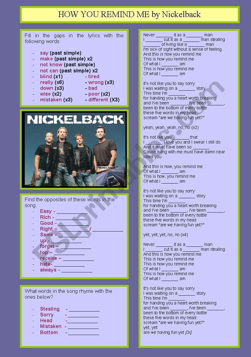 How you remind me by Nickelback
