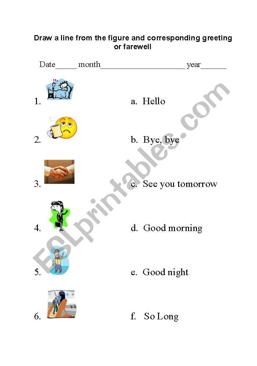 447094_1-Greetings_and_farewells_match Greetings Worksheets High on for grade 1, elementary german, adult esl, german vocabulary, learning french, kindergarten spanish,