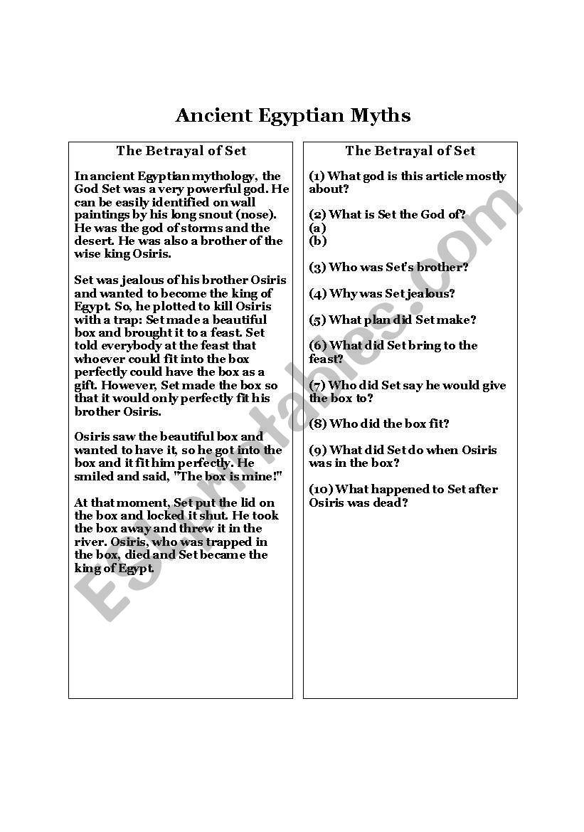 Ancient Egyptian Myths Esl Worksheet By Lhochberger