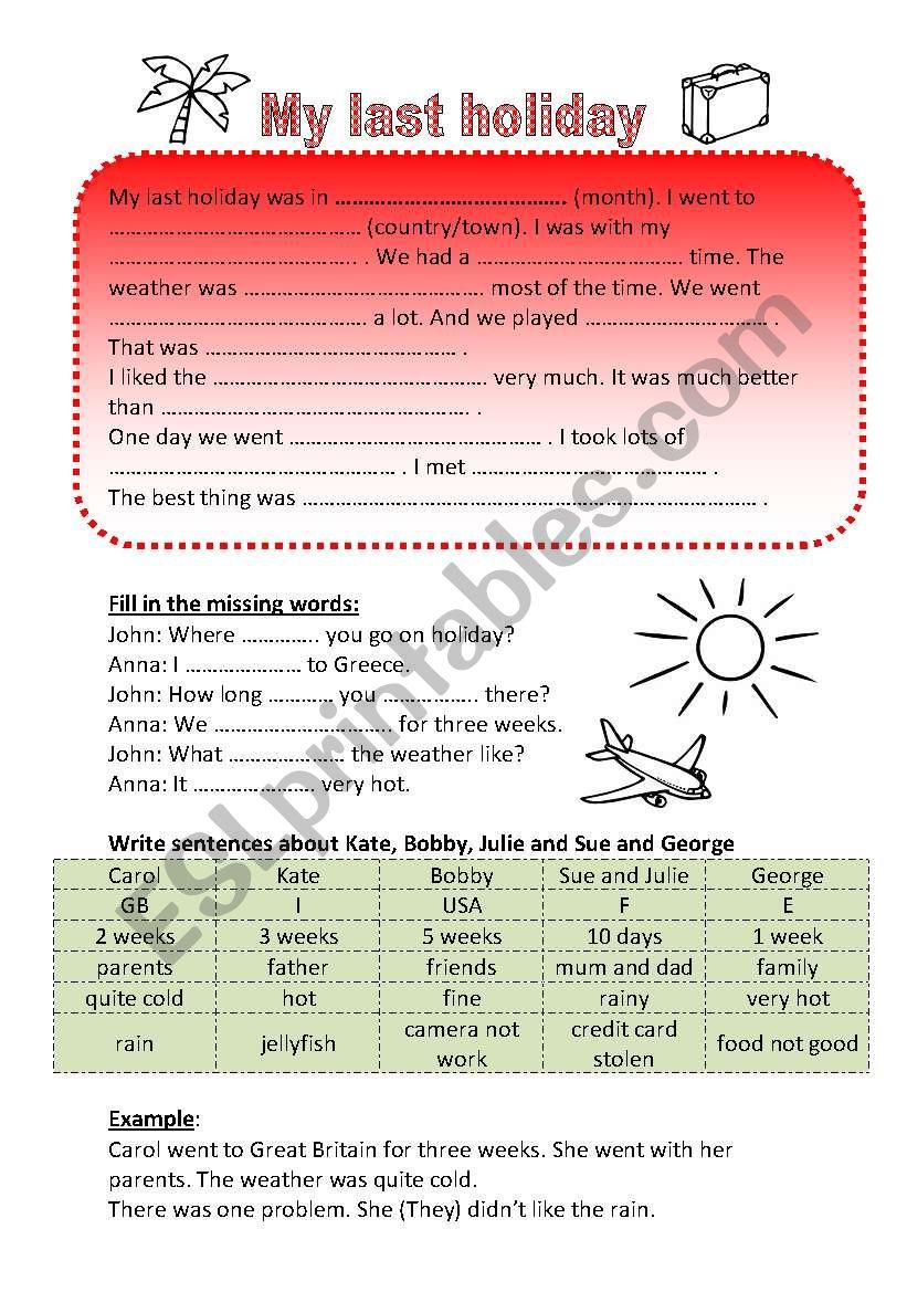Talking about holidays worksheet
