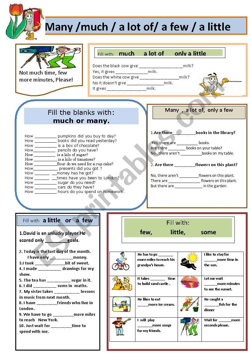 many or much worksheet