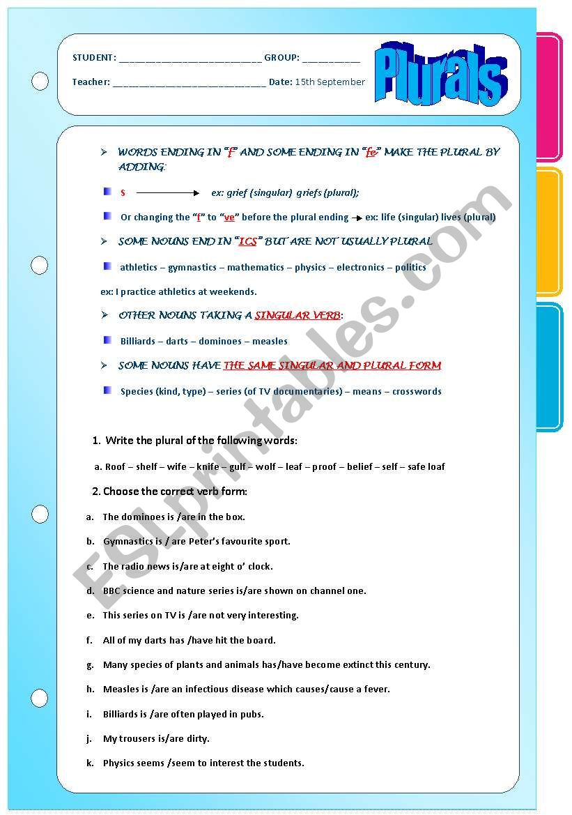 Plurals Rules Exercises Esl Worksheet By Ascincoquinas