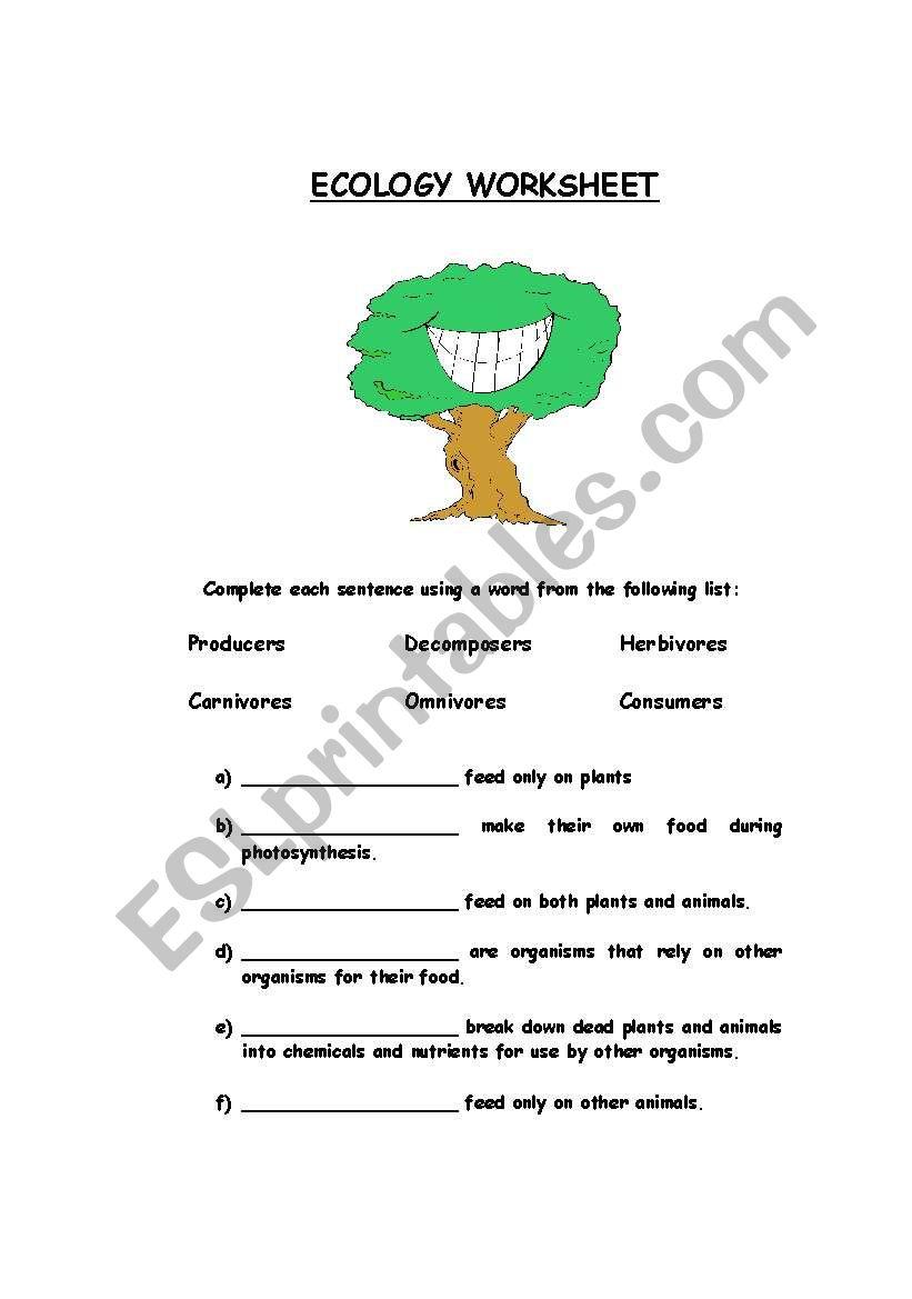 Ecology Worksheet worksheet