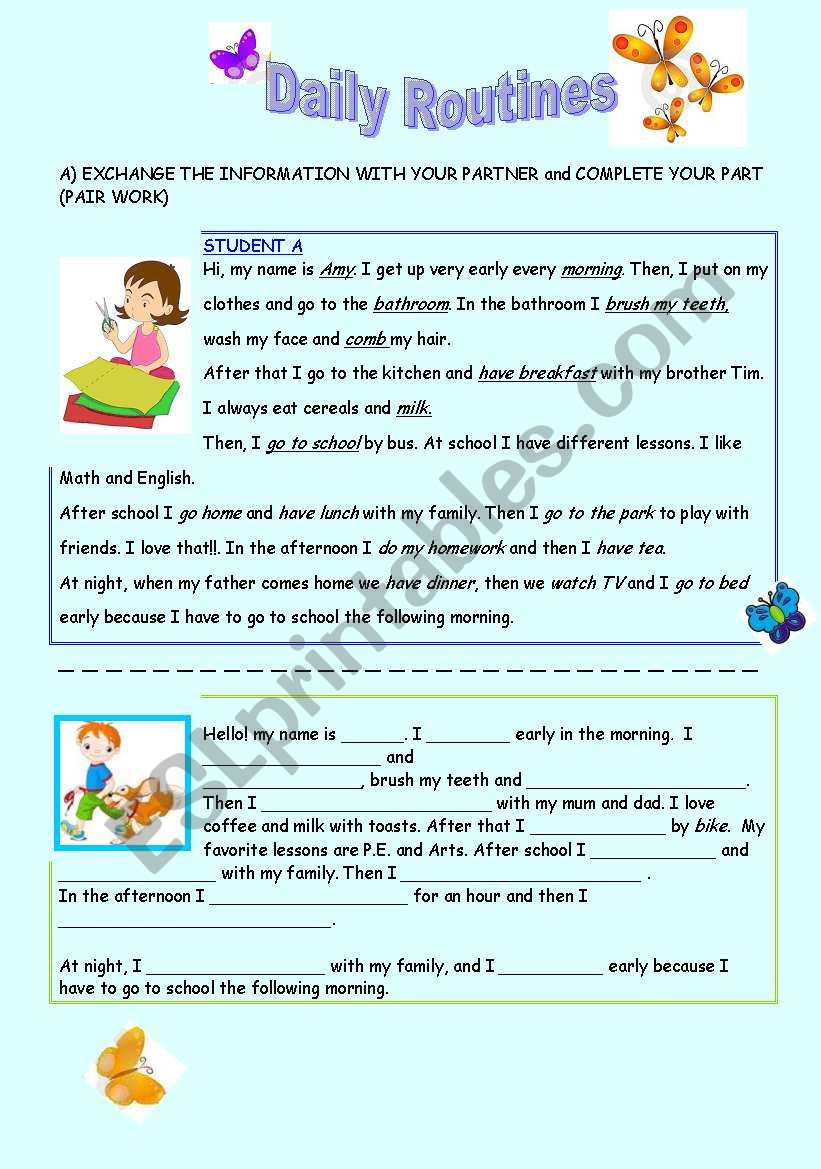 DAILY ROUTINES -  worksheet