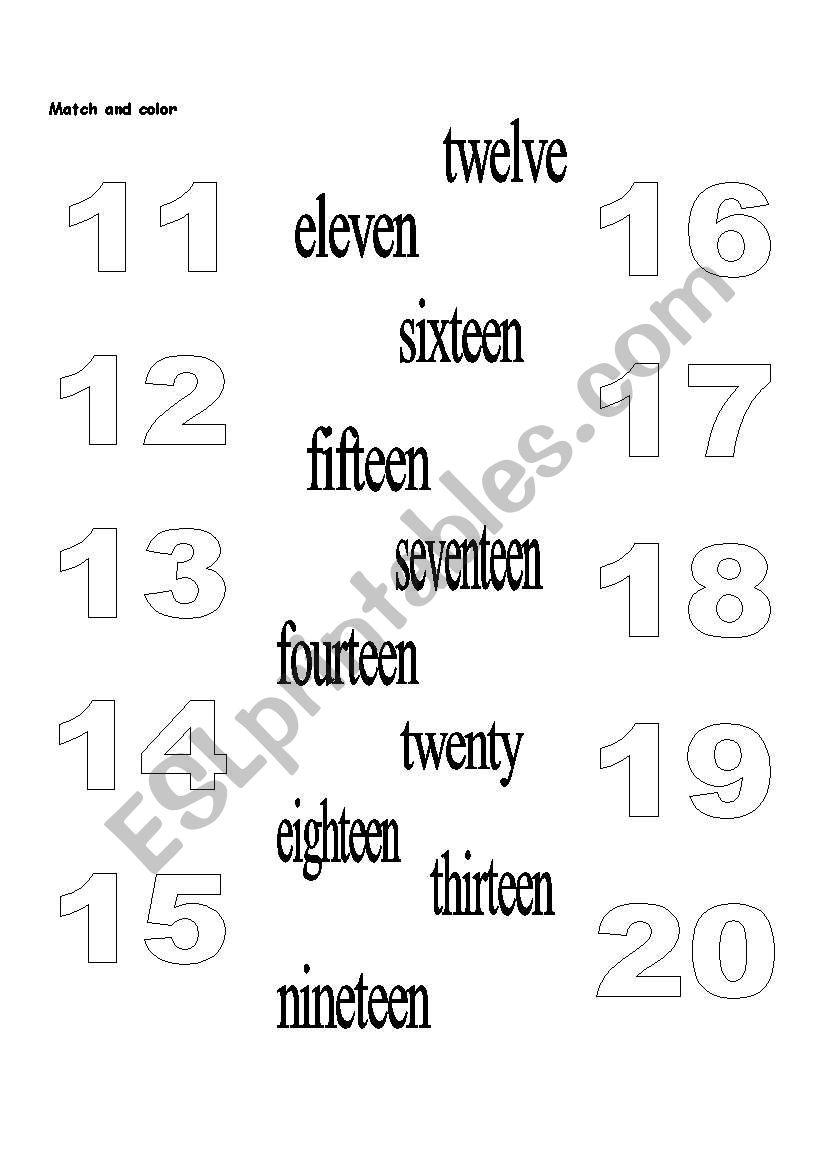 Numbers 11 20 Esl Worksheet By Dianaosorio