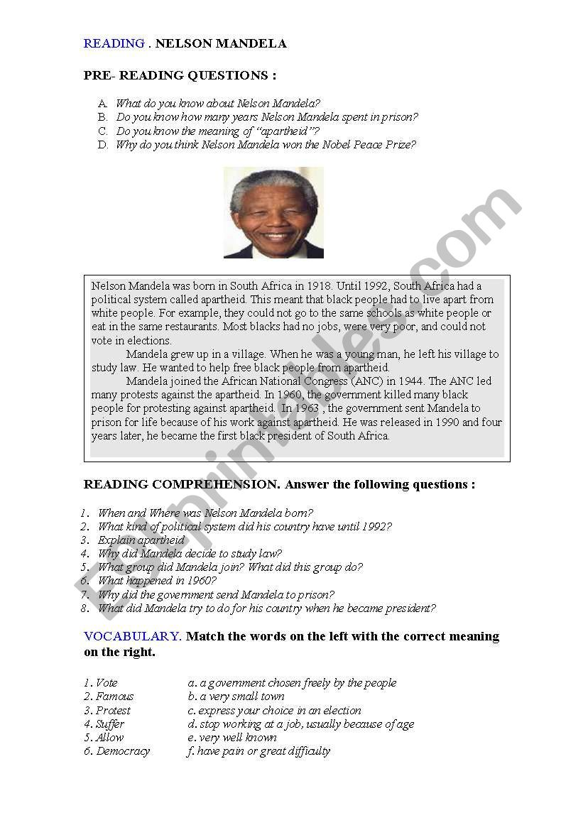 READING NELSON MANDELA  worksheet