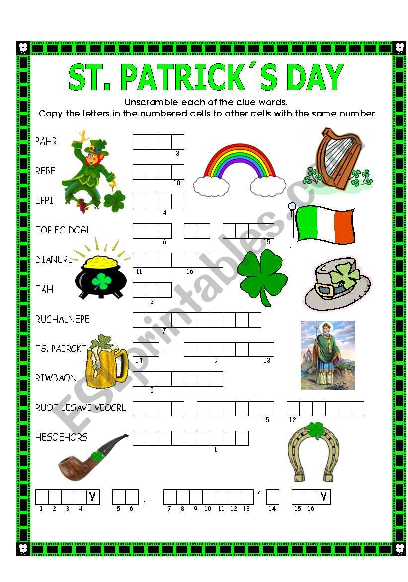 image regarding St Patrick's Day Crossword Puzzle Printable known as DOUBLE PUZZLE (ST. PATRICK´S Working day) + Major - ESL worksheet through