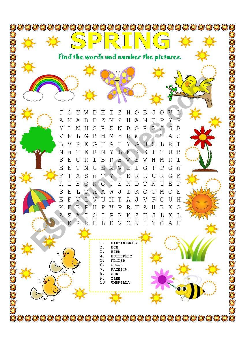 WORD SEARCH (SPRING) worksheet