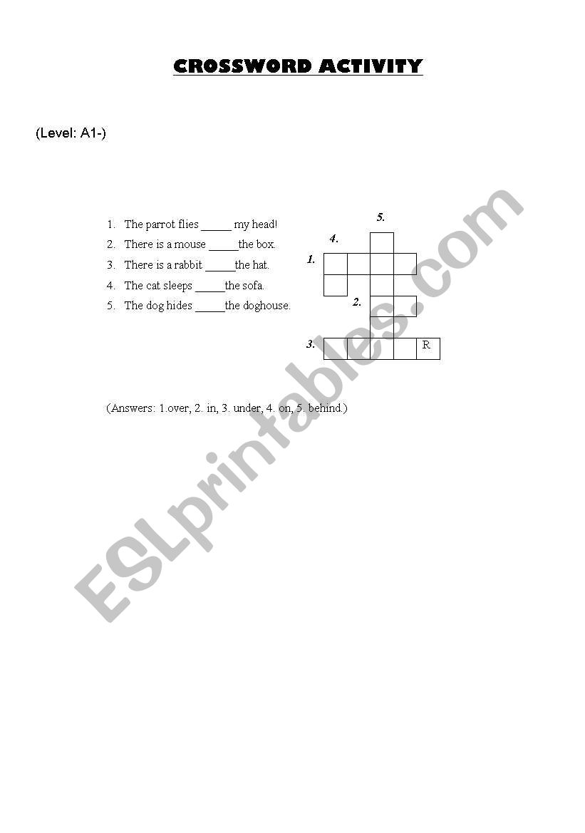 Crossword Activity - Prepositions of Place