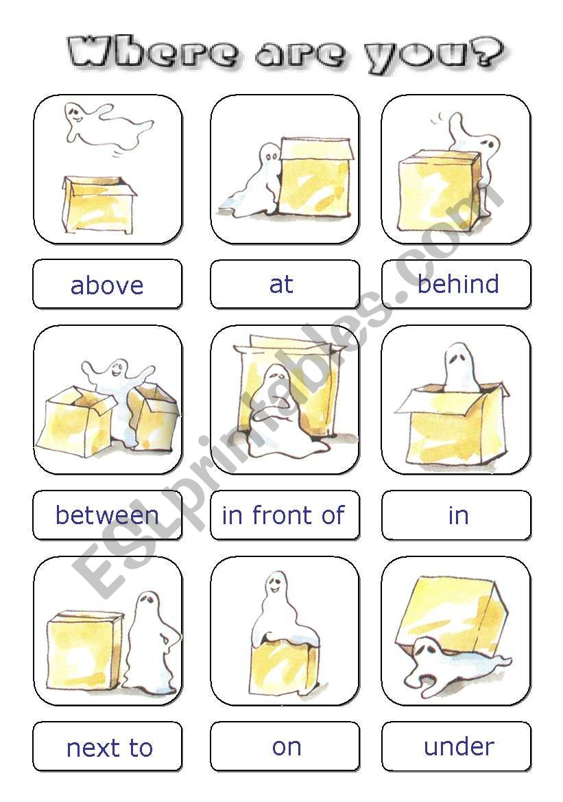 Prepositions cards worksheet