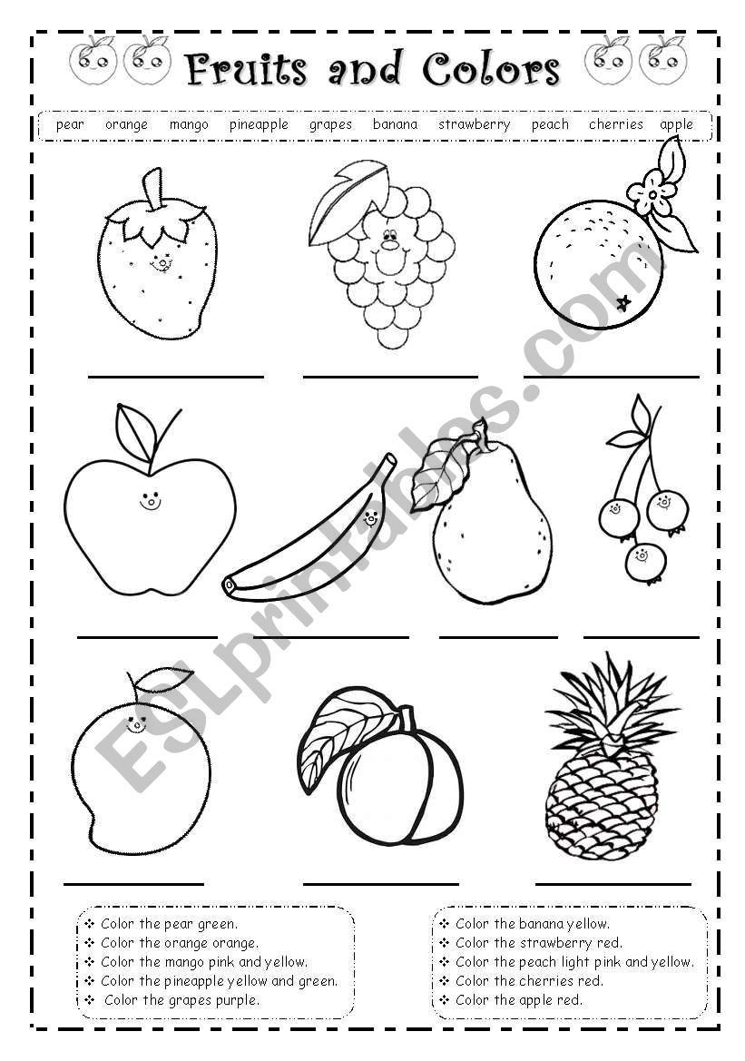Fruits and colors worksheet