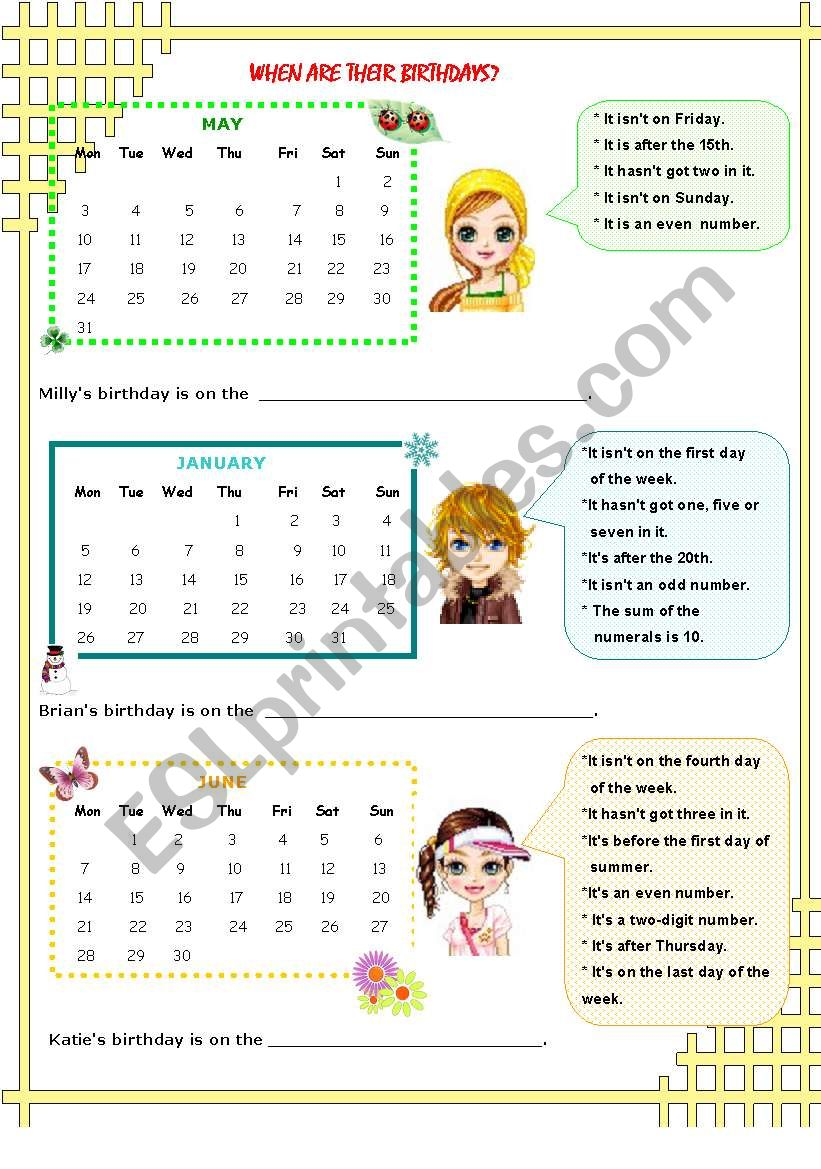 DATE PUZZLE 2 worksheet