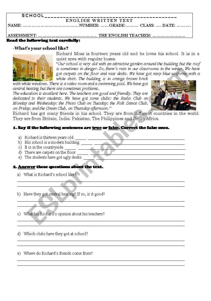 Test On School (7th grade) worksheet