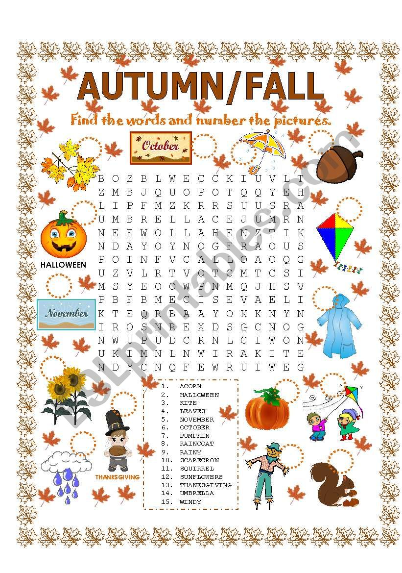 WORD SEARCH (AUTUMN/FALL) worksheet