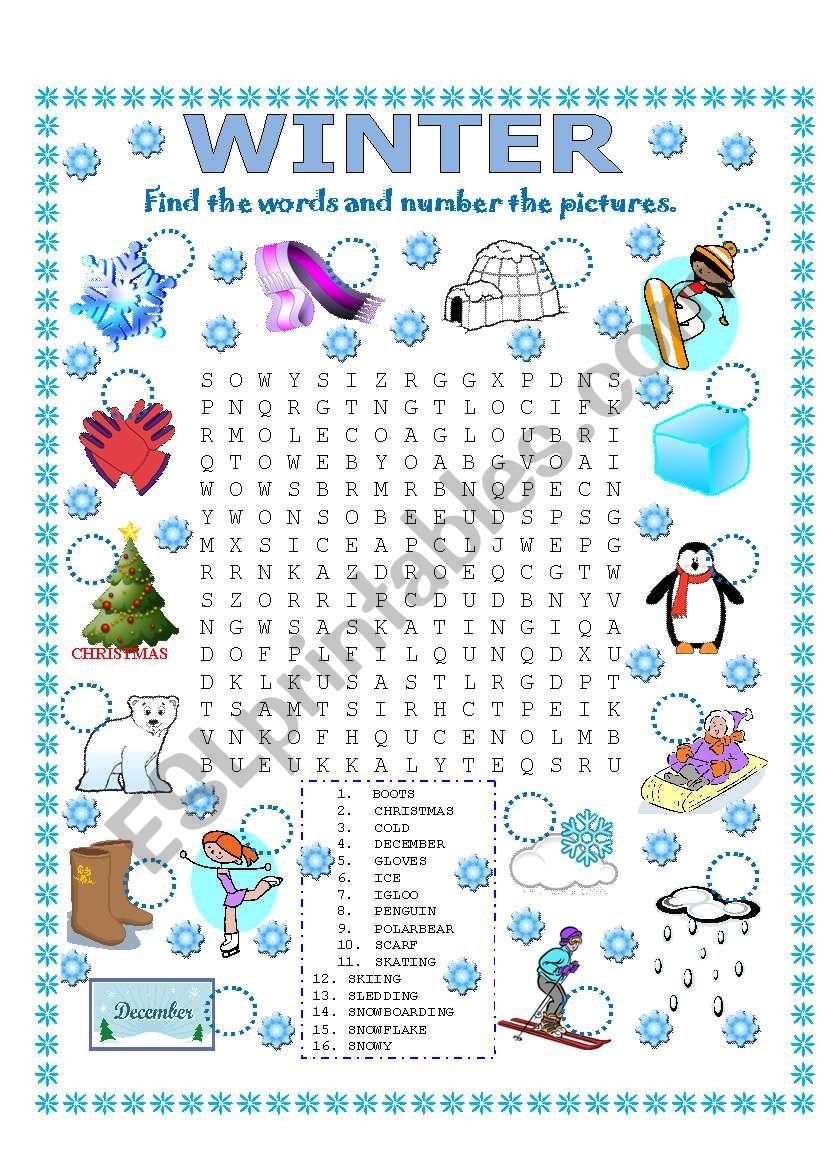 WORD SEARCH (WINTER) worksheet
