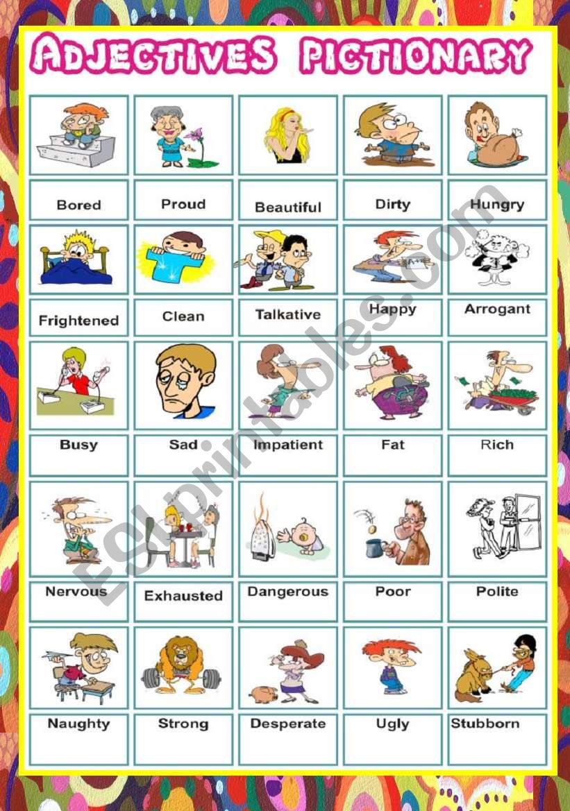 Adjectives Pictionary worksheet