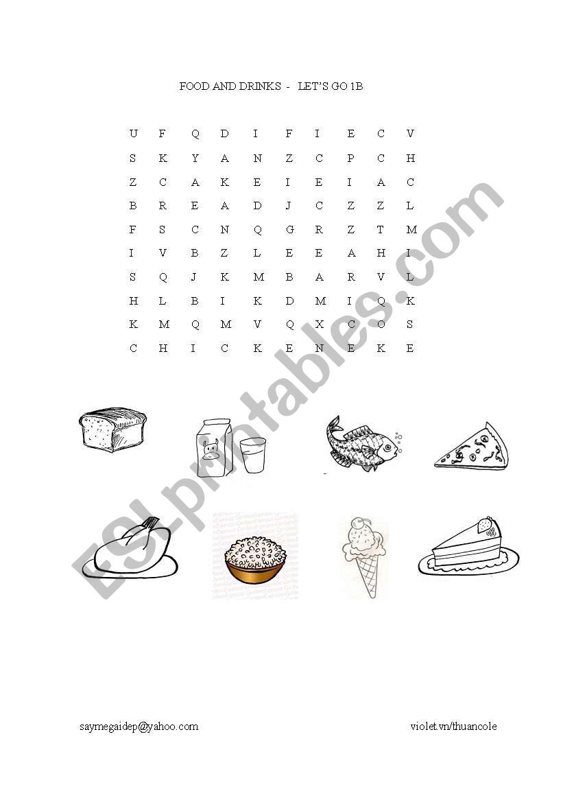 food and drinks - wordsearch worksheet