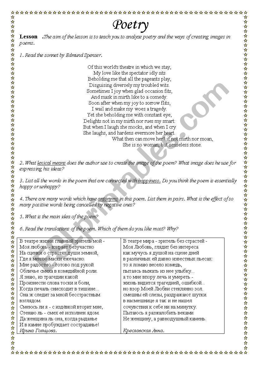 poetry sonnets esl worksheet by rishafm. Black Bedroom Furniture Sets. Home Design Ideas