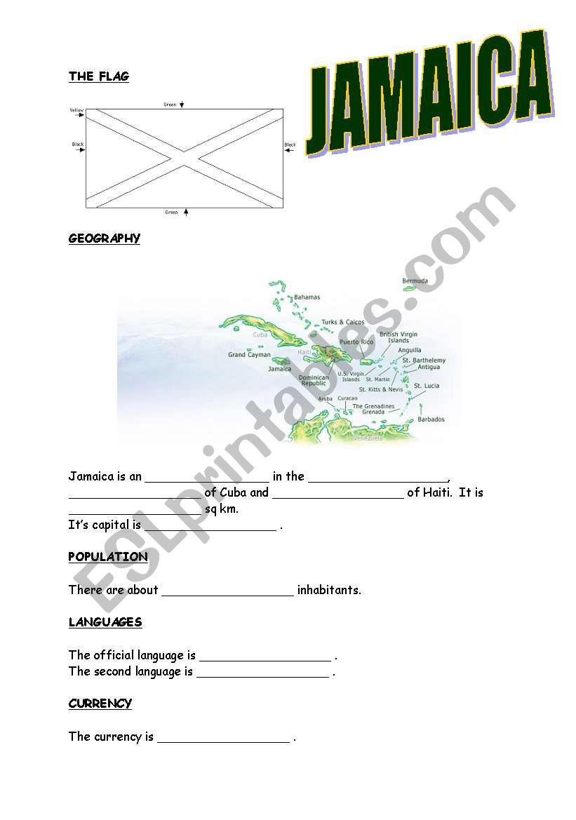 Webquest (Jamaica) worksheet