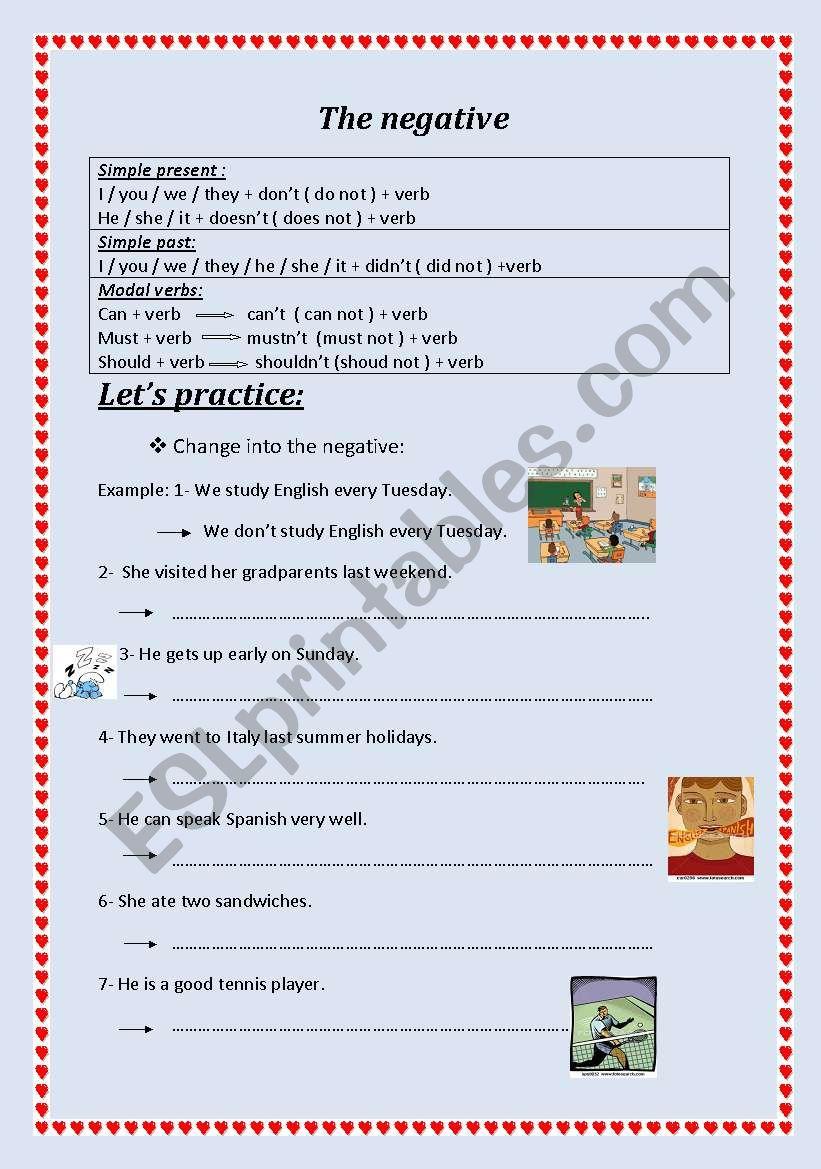 The negative worksheet