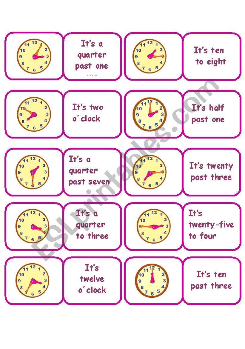 TIME DOMINO worksheet