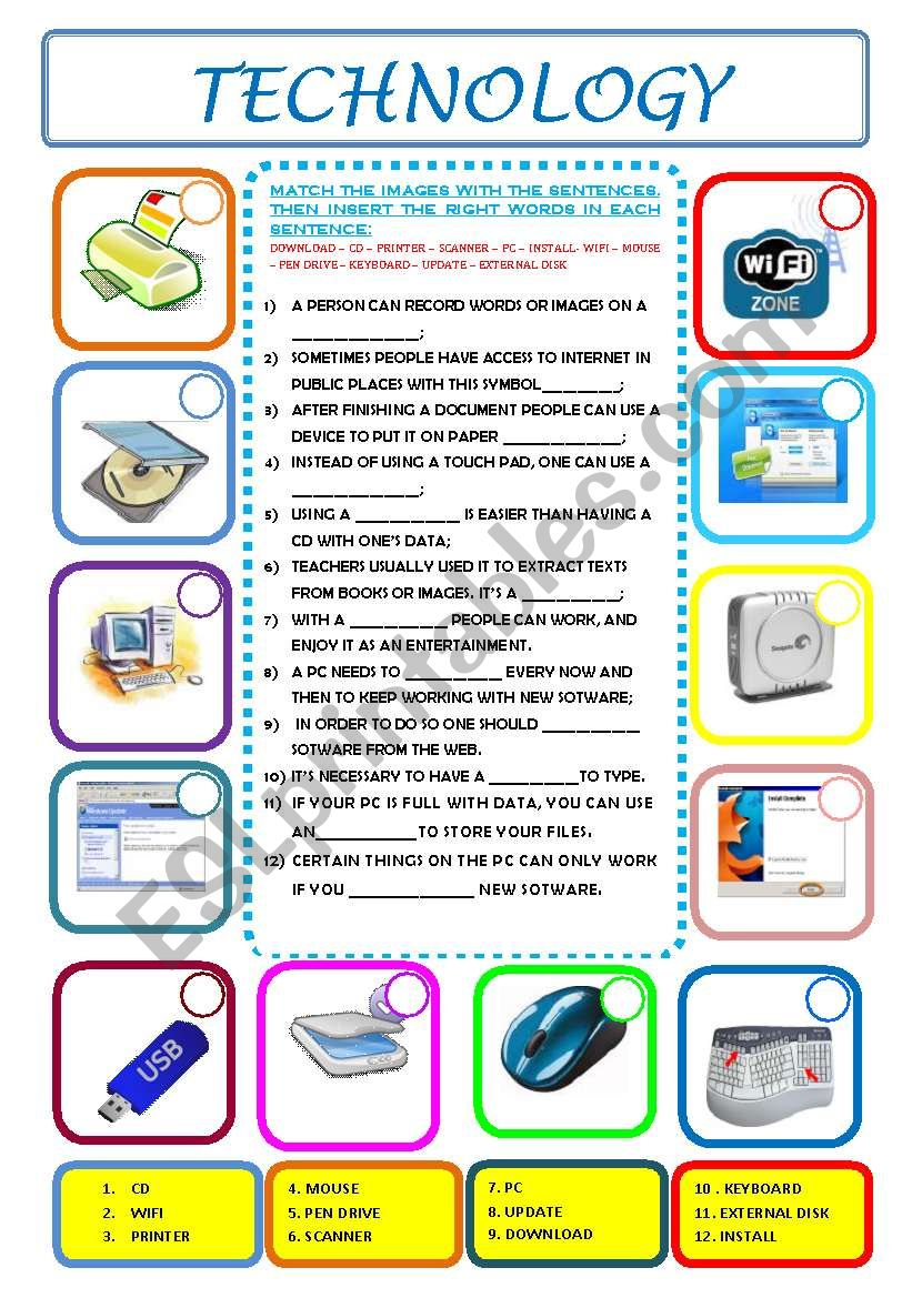 Technology Esl Worksheet By Ascincoquinas