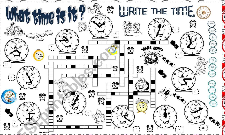 time crossword worksheet
