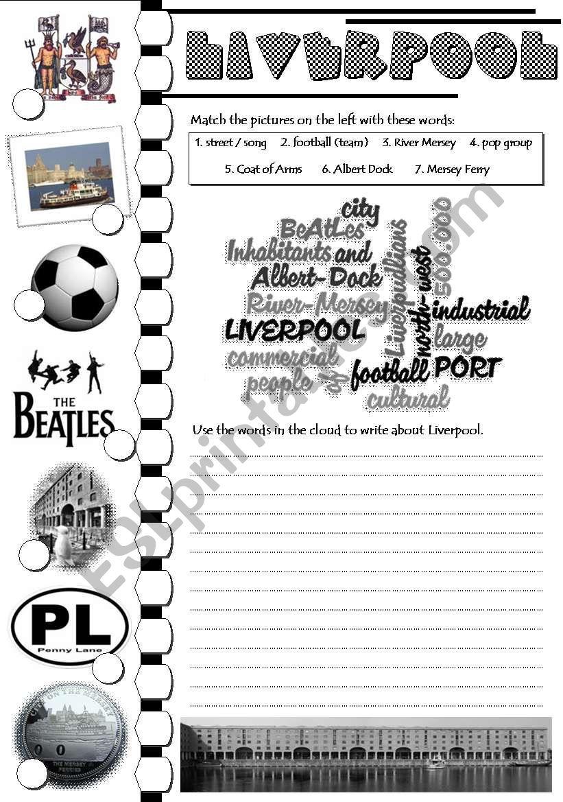 Liverpool - writing task worksheet
