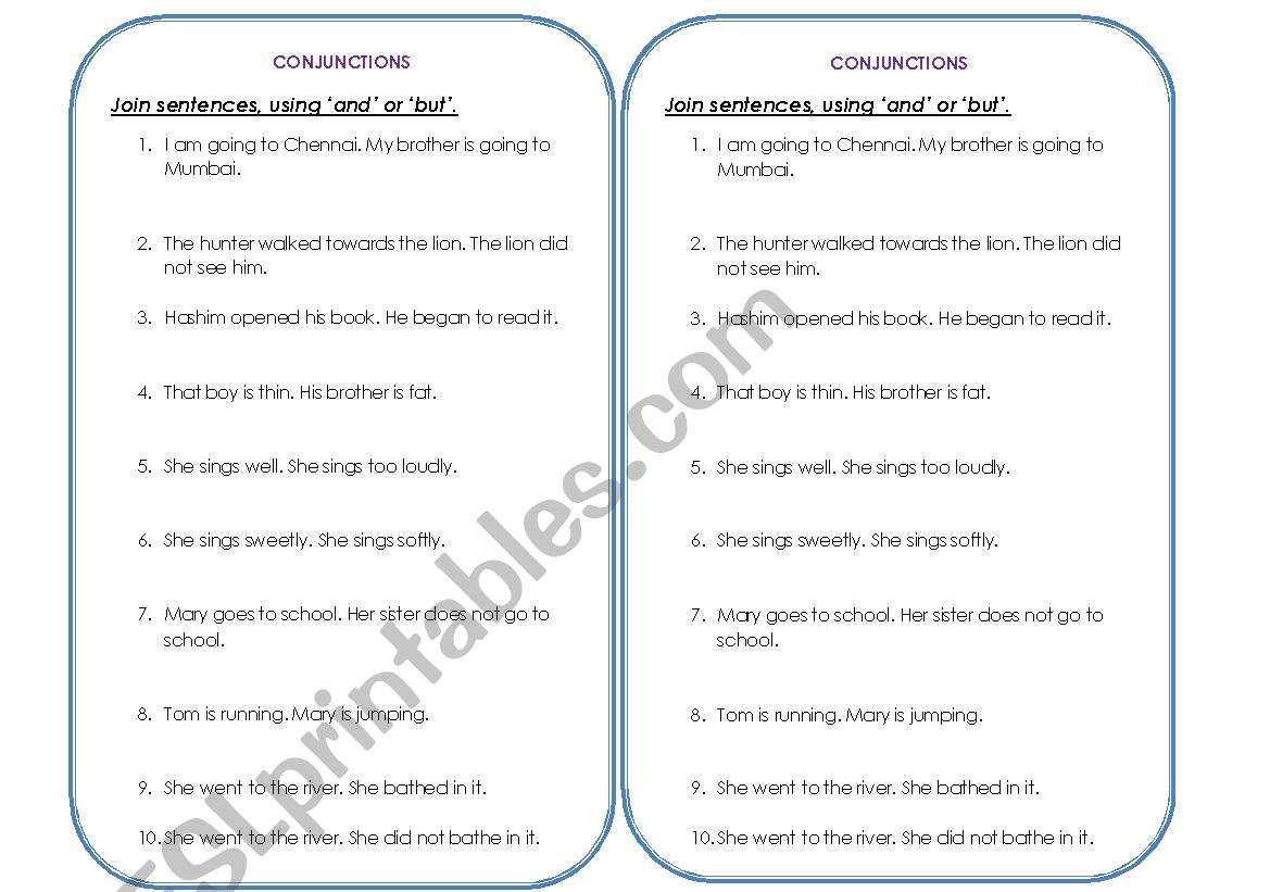 conjunctions-2(and & but) worksheet