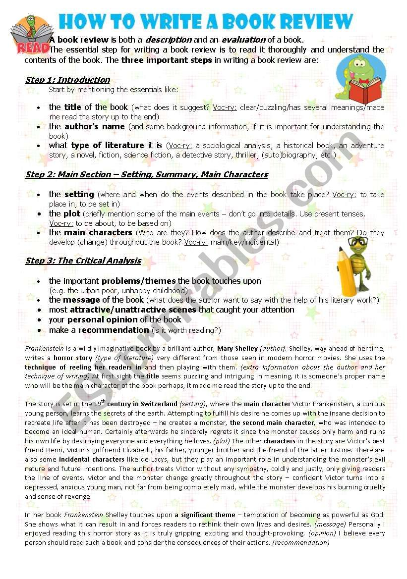 HOW TO WRITE A BOOK REVIEW worksheet