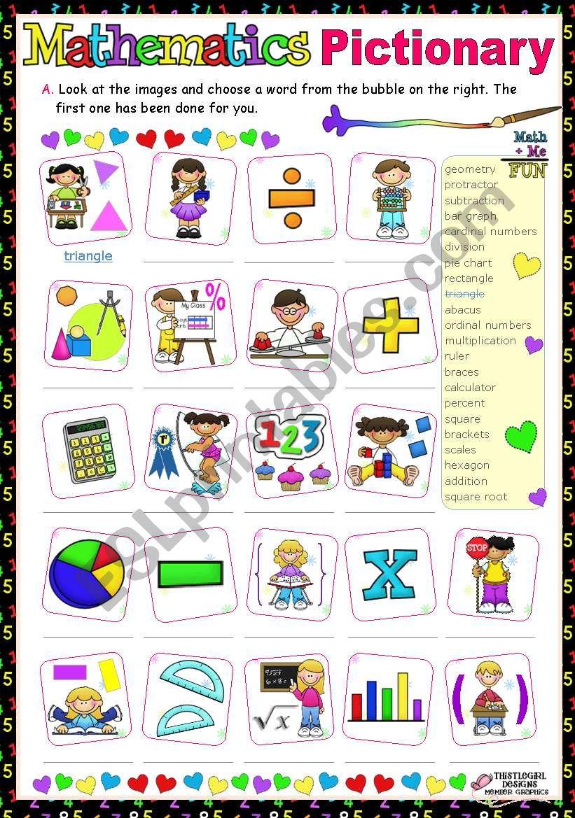 Maths Pictionary  (Basic Vocabulary)