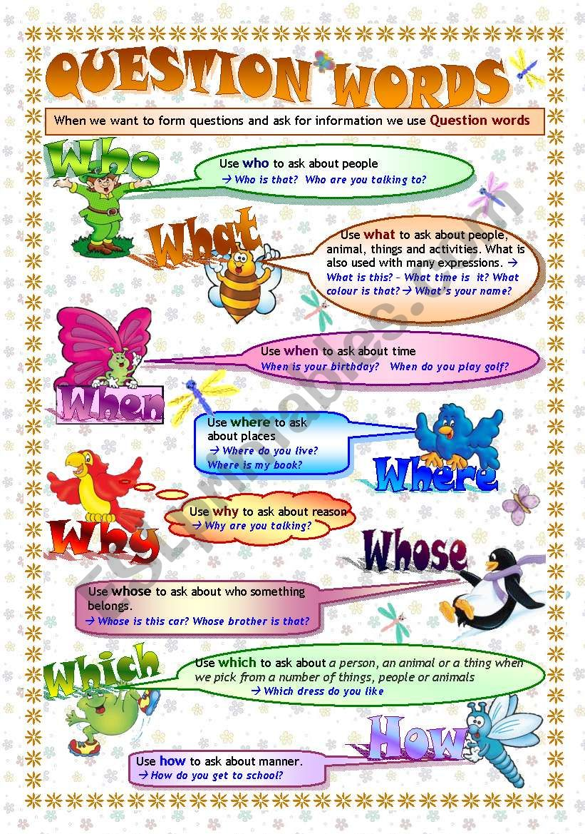 QUESTION WORDS: grammar guide/poster & exercises (key included- fully editable)
