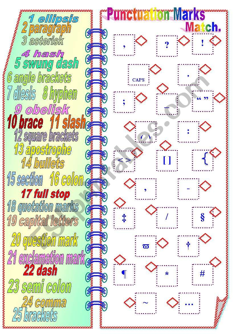 Punctuation Marks - Matching activity ** fully editable