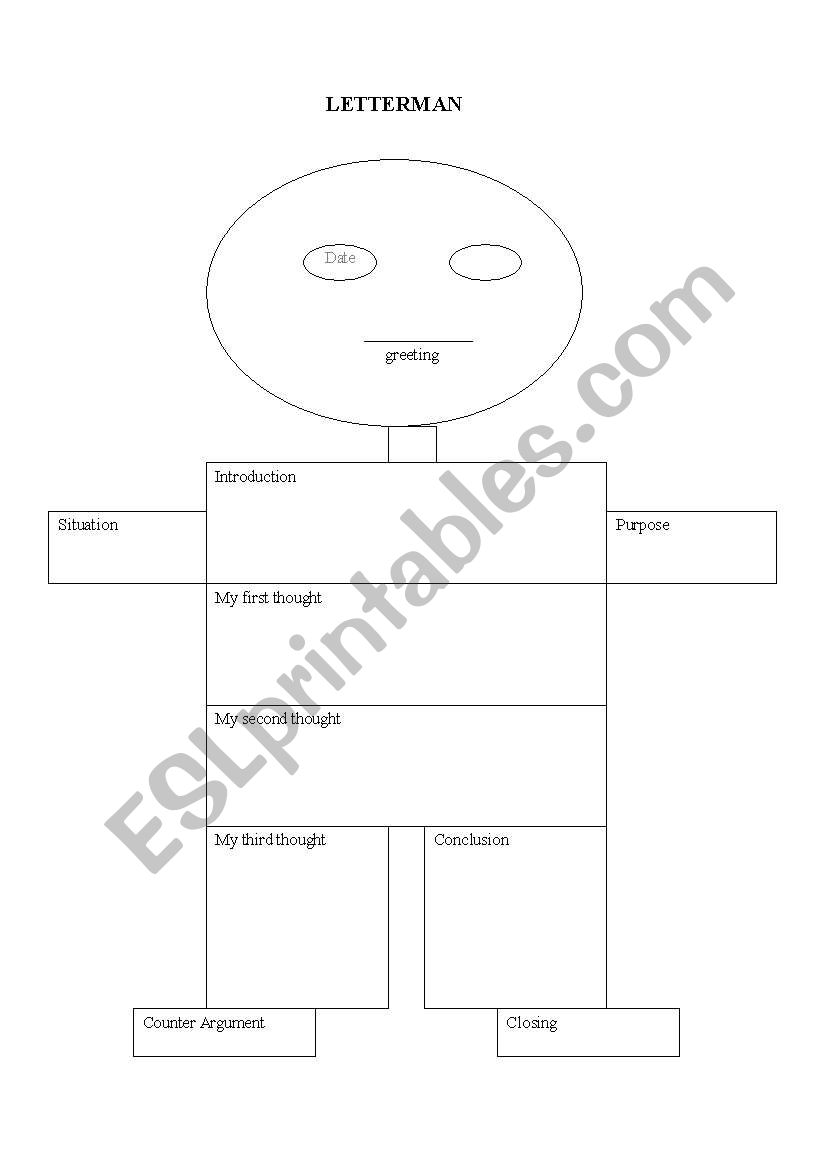 english worksheets  letter writing graphic organizer