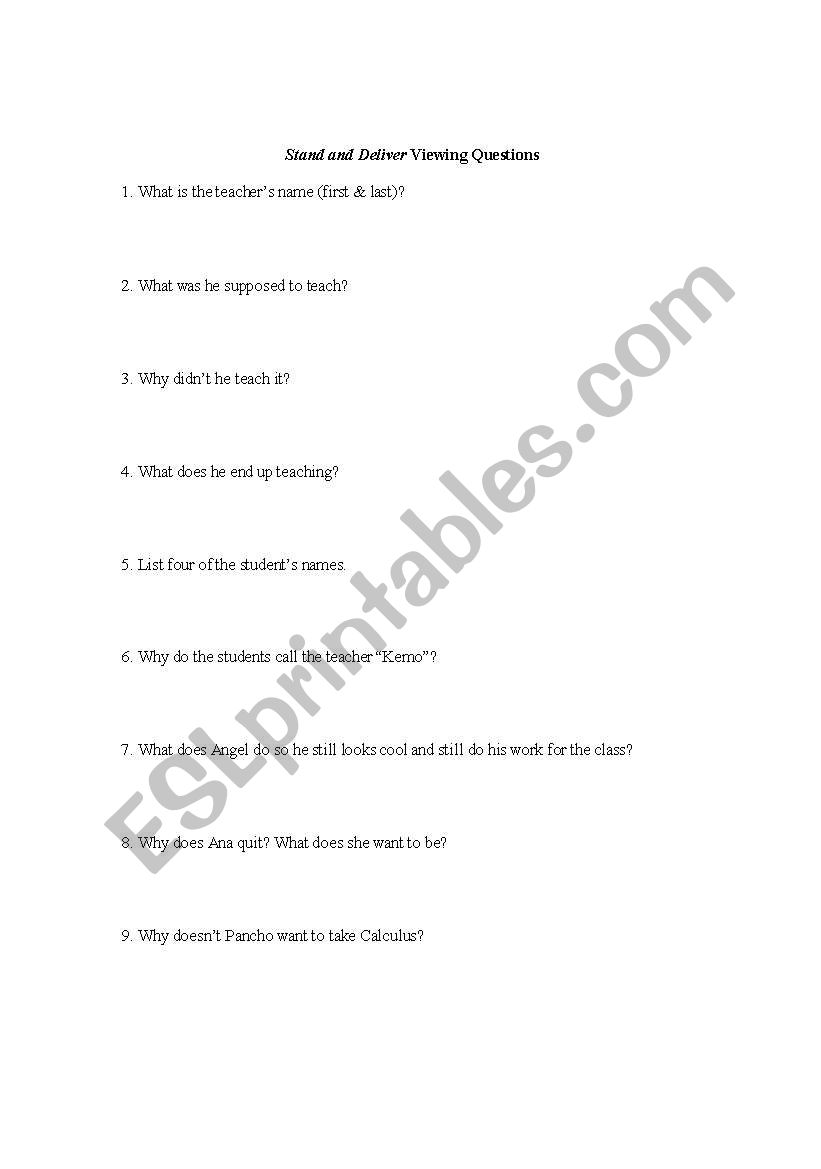 worksheet Stand And Deliver Worksheet english worksheets stand and deliver viewing questions questions