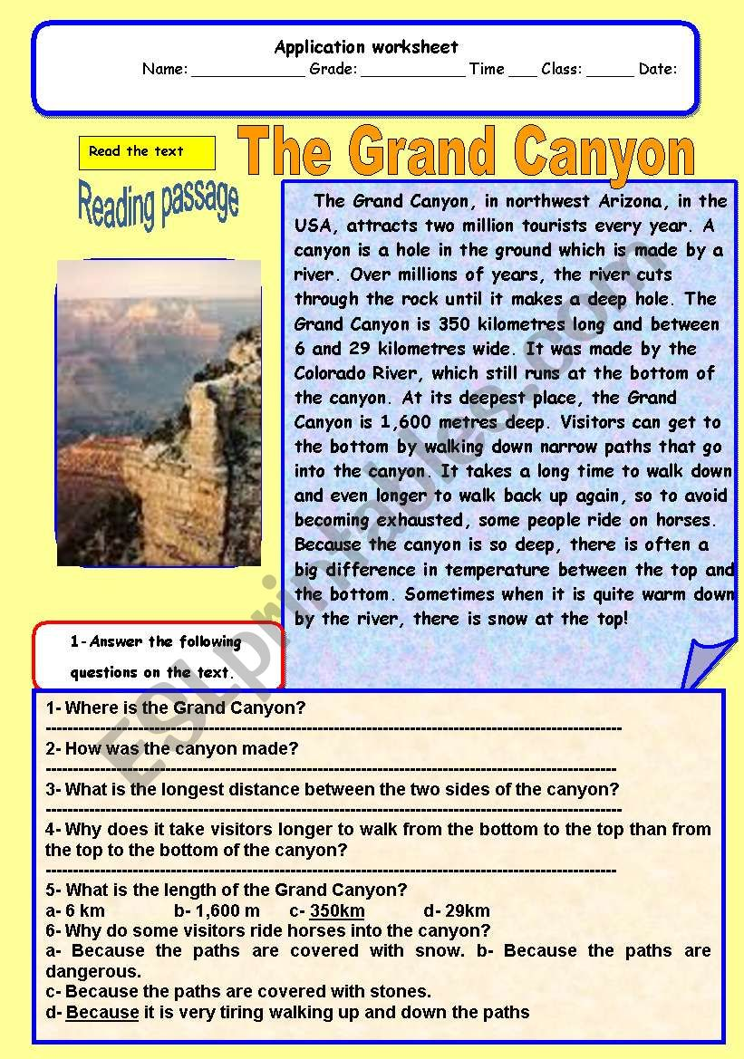 The grand canyon worksheet