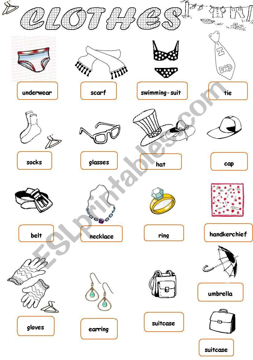 Clothes 1/1 worksheet