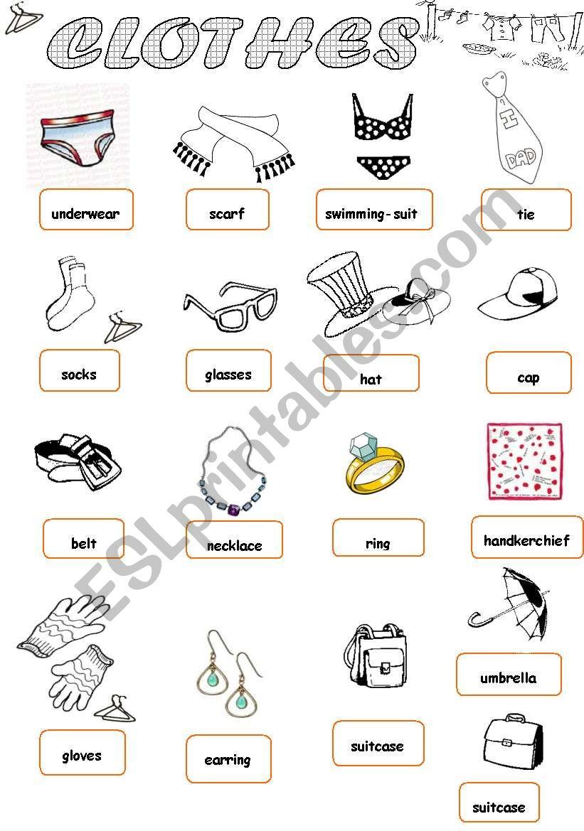 Clothes 1/1 worksheet