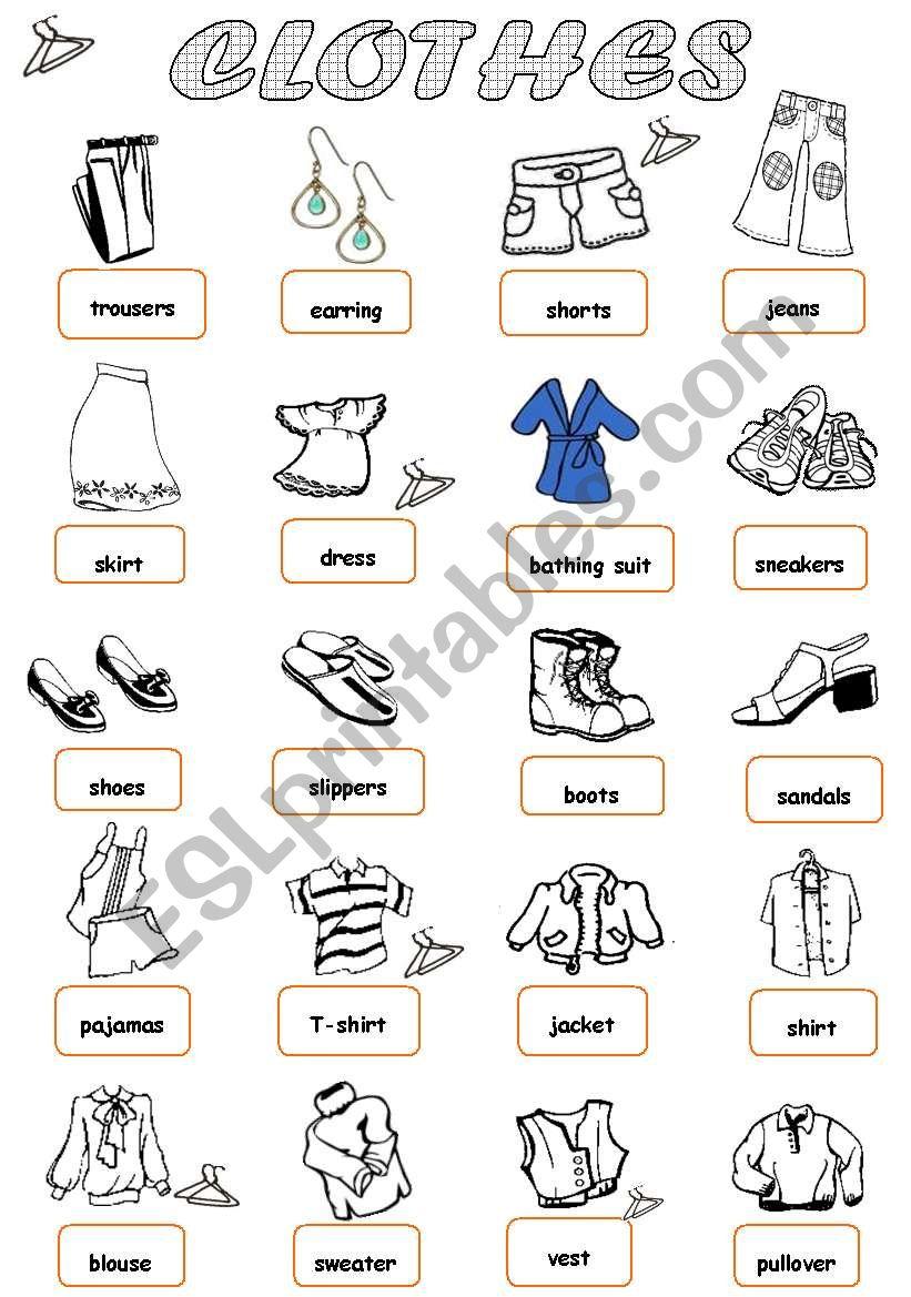 Clothes 1/2 worksheet