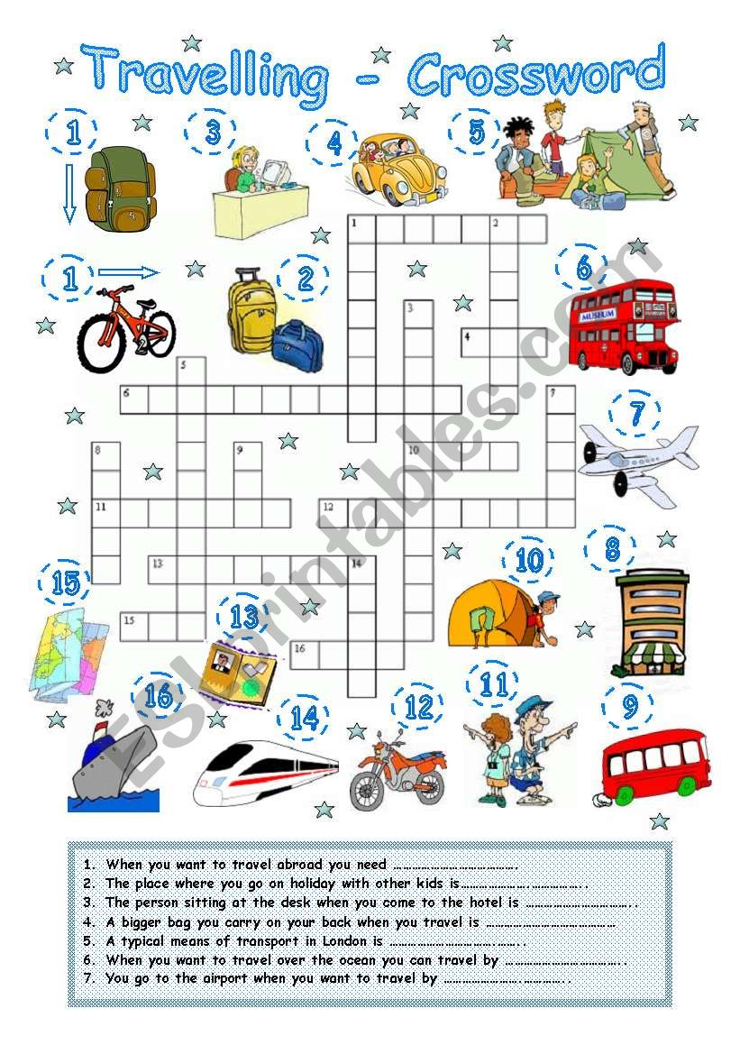 Travelling 2 - Crossword worksheet