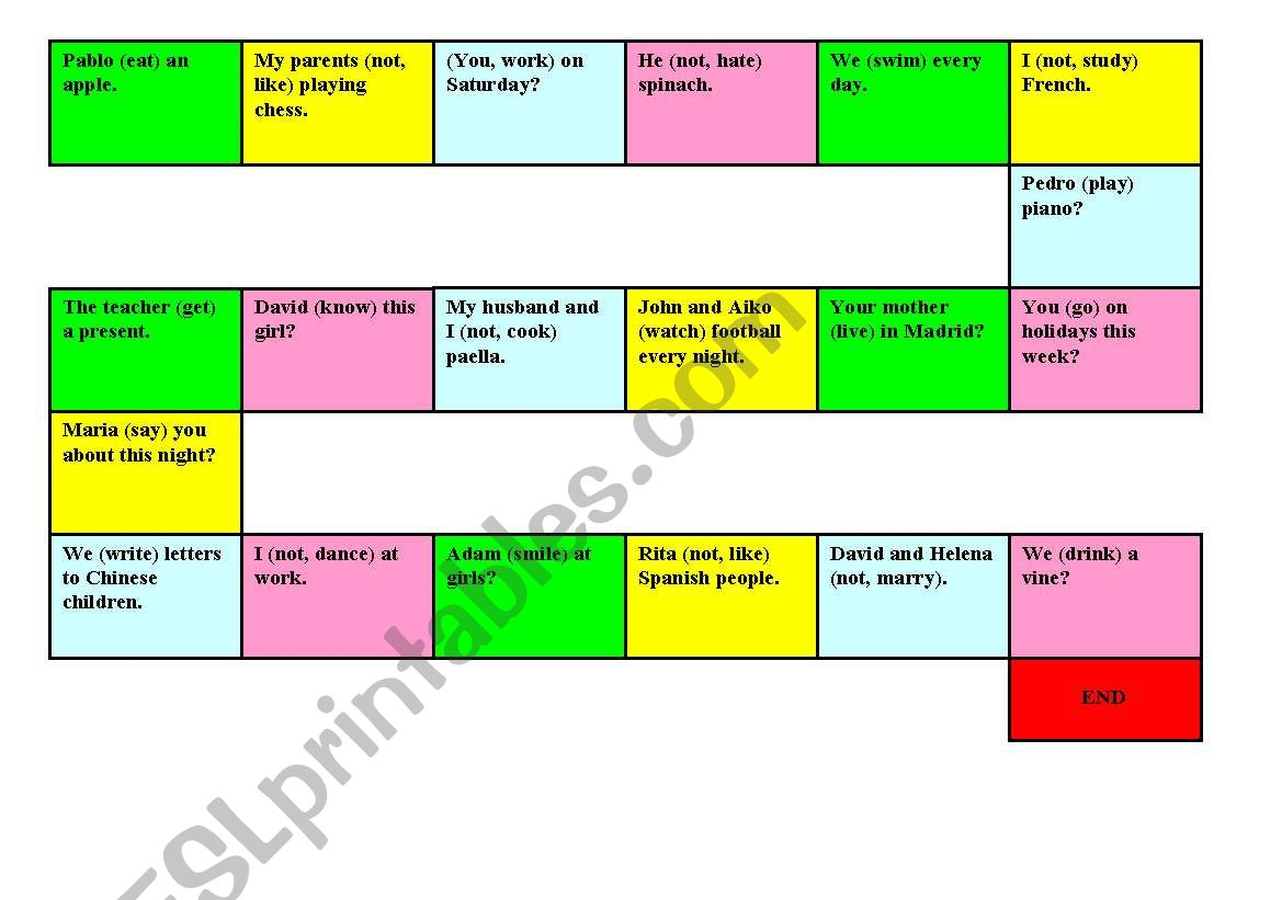 present simple game worksheet