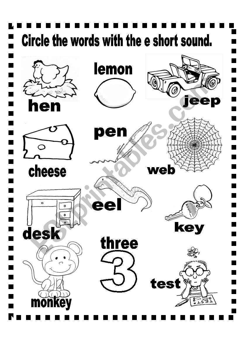 Short e  and o sound worksheet