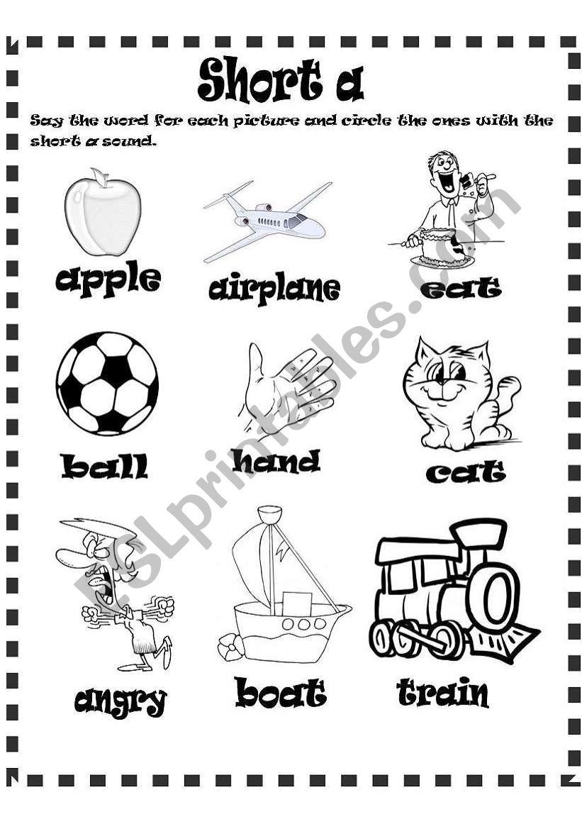 short a sound worksheet