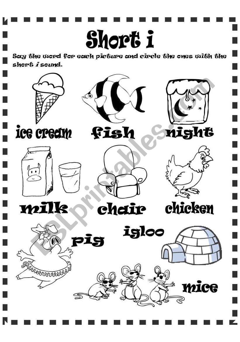 Short i sound worksheet