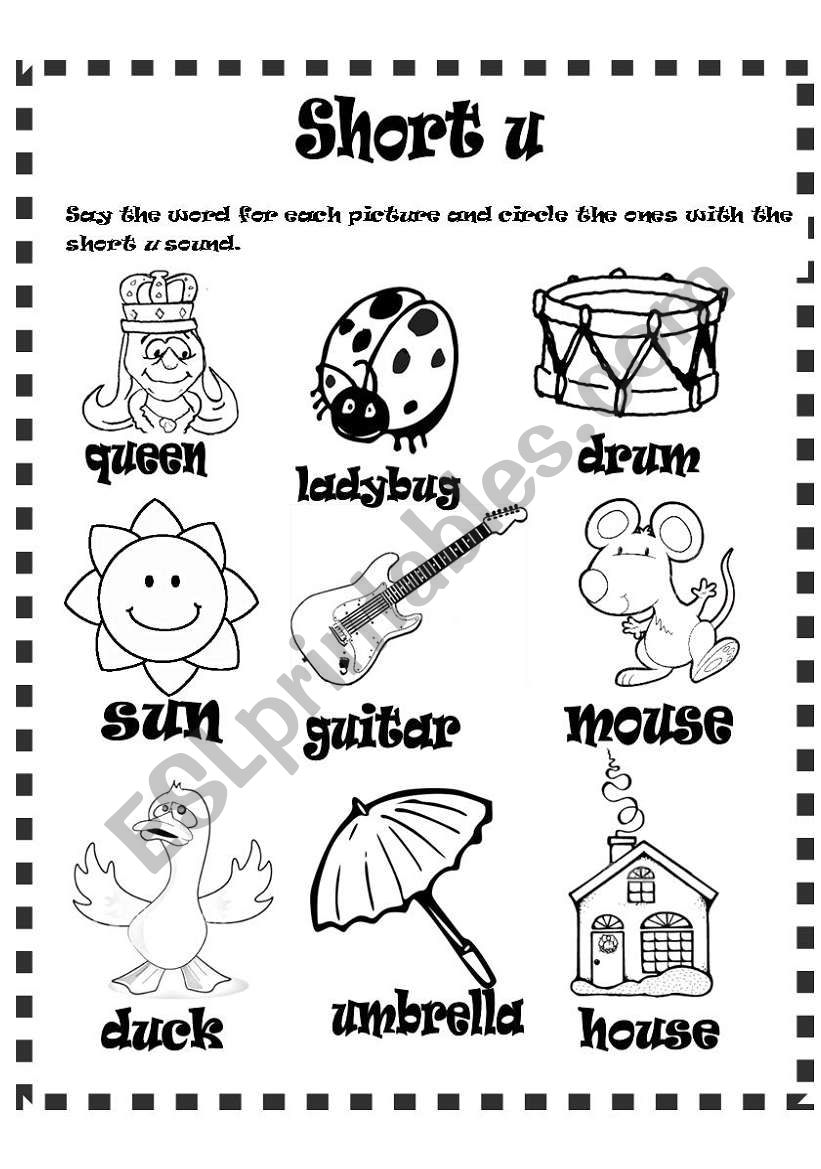 Short u sound worksheet