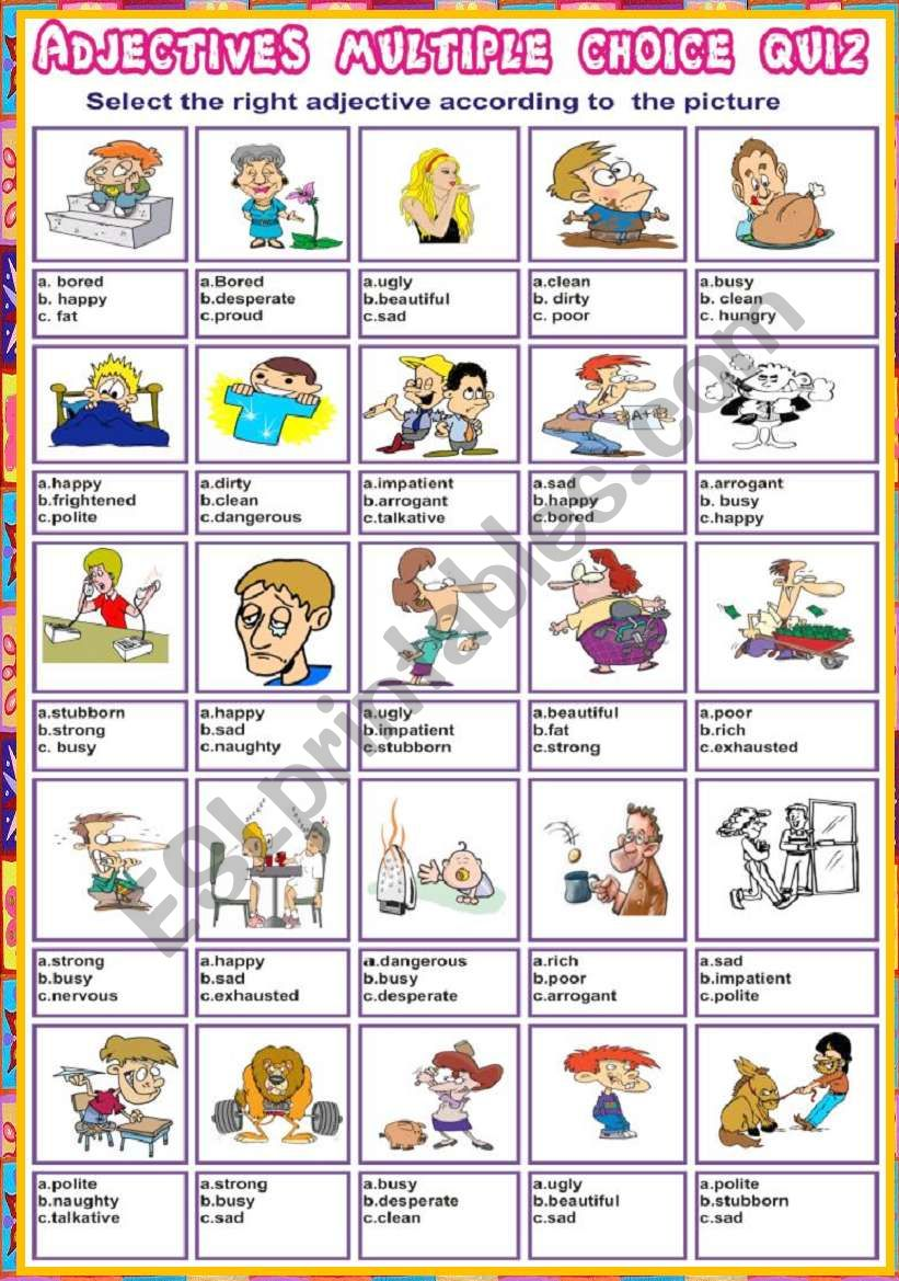 Adjectives multiple choice quiz