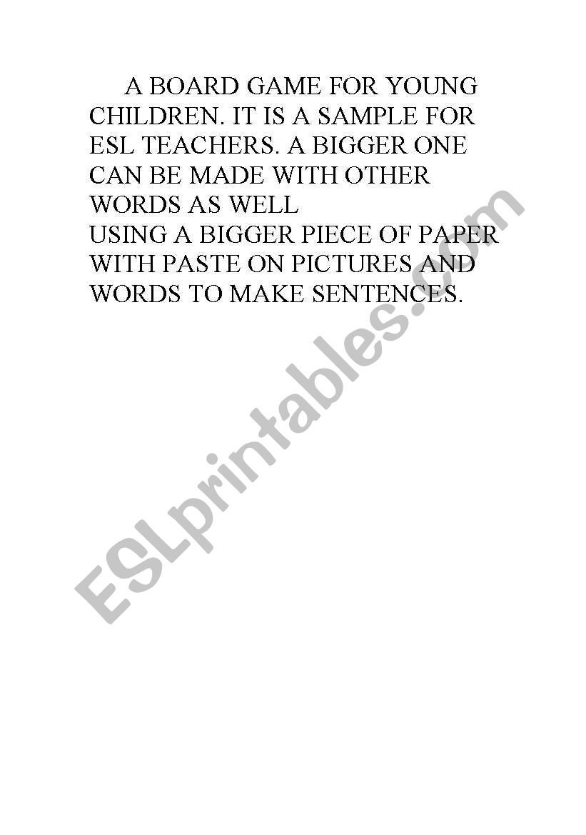 A BOARD GAME ON PAGE 2 worksheet