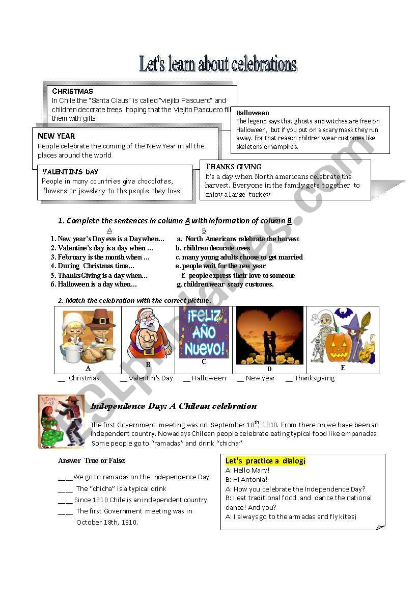 celebtations around the world worksheet