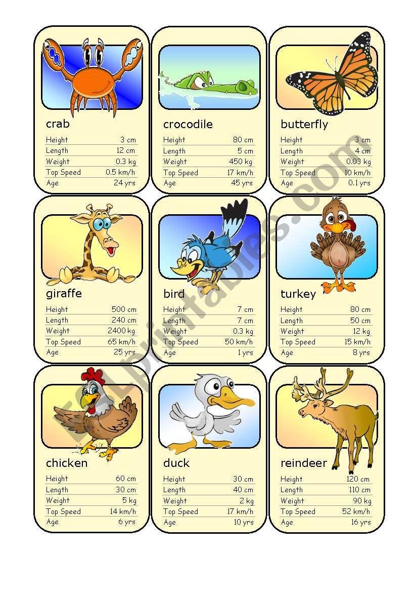 Animal Card Game (4) worksheet