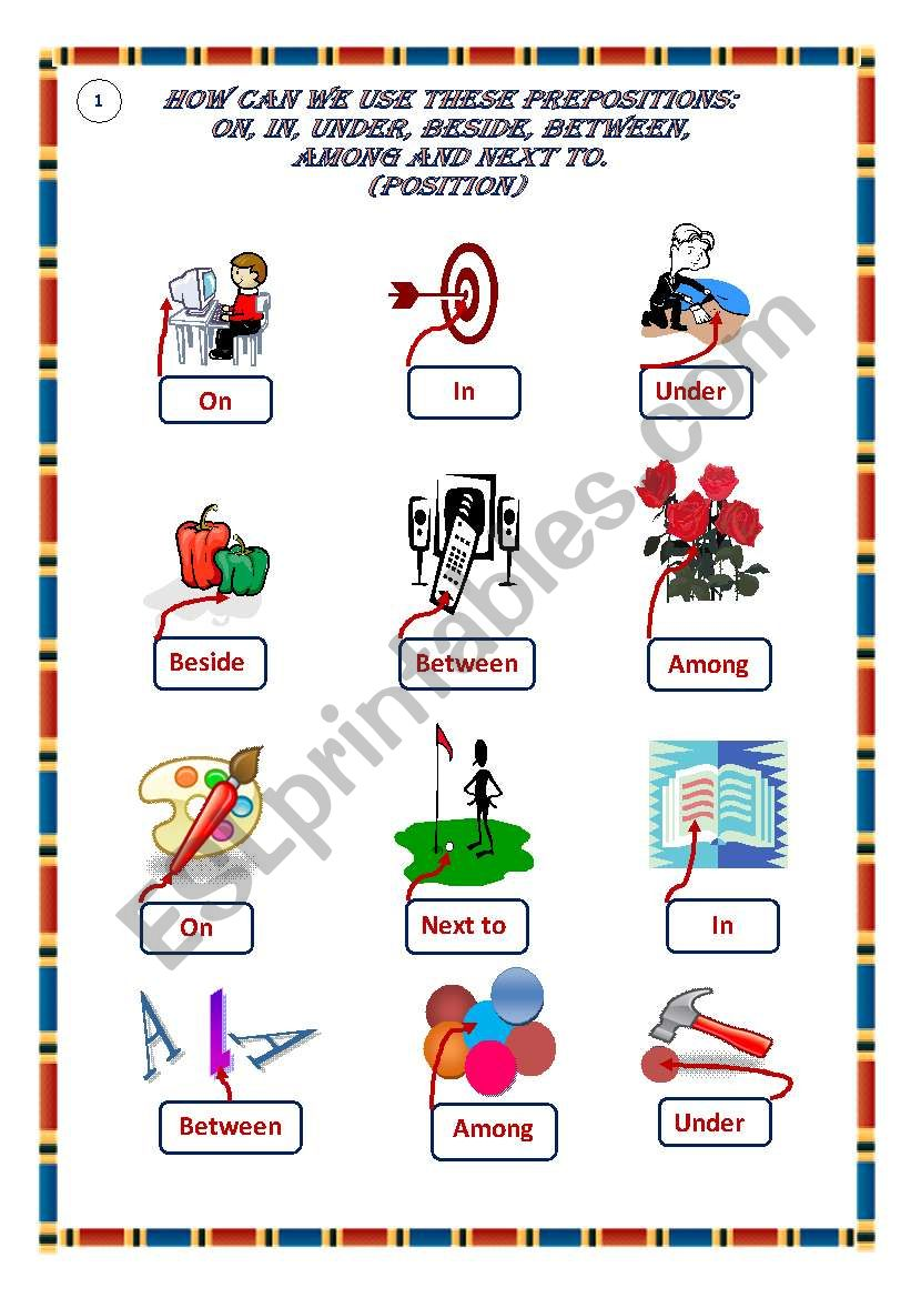 Prepositions of position worksheet